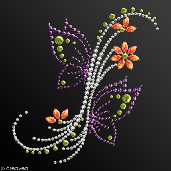 Motif thermocollant strass - 10,7 x 11,4 cm - Papillon et fleurs - Photo n°2