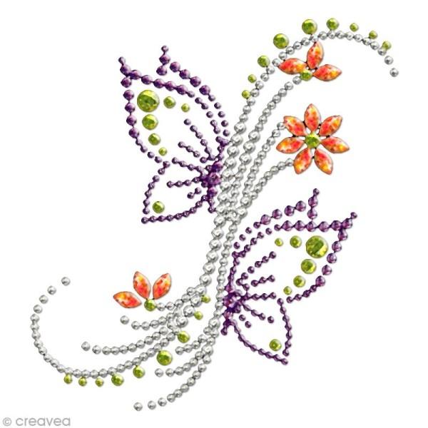 Motif thermocollant strass - 10,7 x 11,4 cm - Papillon et fleurs - Photo n°1