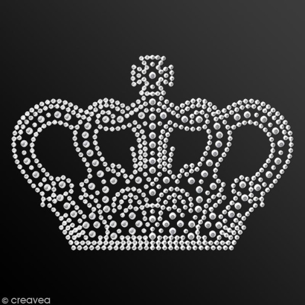 Motif thermocollant strass - 12,9 x 9 cm - Couronne - Photo n°2