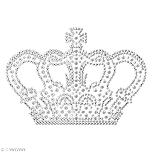Motif thermocollant strass - 12,9 x 9 cm - Couronne - Photo n°1