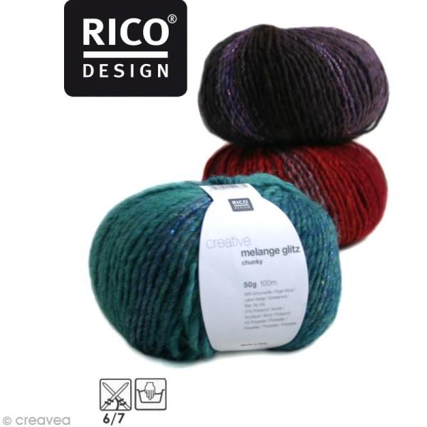 Laine Rico Design - Creative melange glitz chunky - 50 gr - 49% laine 47% acrylique 4% polyester - Photo n°1