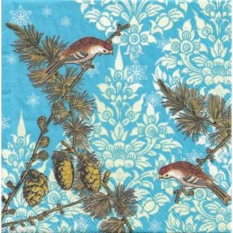 4 Serviettes en papier Oiseaux Pommes de Pin Format Lunch