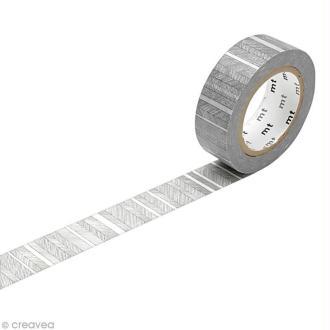 Masking Tape - Lignes obliques Noir - 15 mm x 10 m