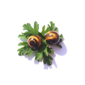 Sphères Oeil de Tigre multicolore semi polies 1.8 CM de diamètre ( B )