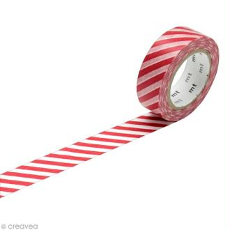 Masking Tape - Rayures Rouge - 15 mm x 10 m