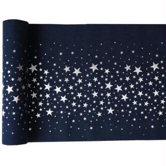 Chemin de table bleu nuit étoilé argent 3 mètres