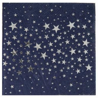 20 Serviettes en papier bleu nuit étoilés argent
