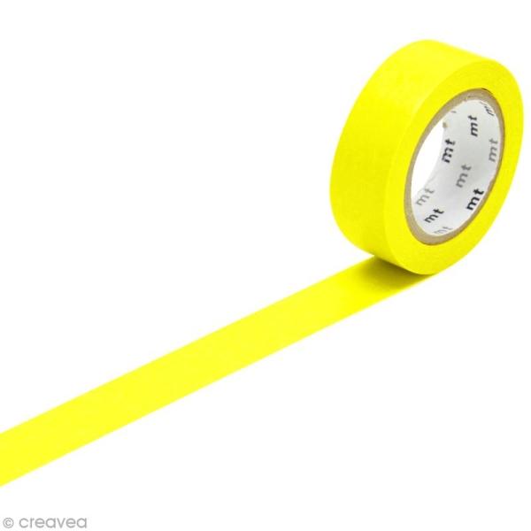 Masking Tape - Uni Jaune fluo - 15 mm x 10 m - Photo n°1
