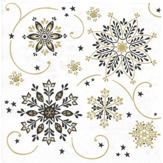 4 Serviettes en papier Lettre de Noël Vintage Format Lunch Noir Or