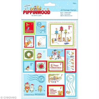 Stickers timbre Noël effet lin - Christmas Pippinwood - 32 pcs