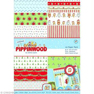 Papier scrapbooking A4 - Pippinwood Christmas - 26 feuilles