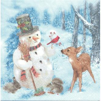 4 Serviettes en papier Noël Homme de Neige Faon Hiver Format Lunch