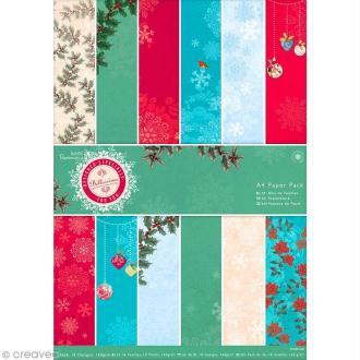 Papier scrapbooking A4 - Bellissima Christmas - 36 feuilles