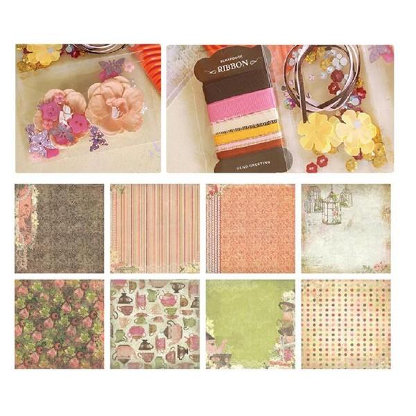 Orange Vert Rose Jaune Marron 6inch Vintage Kit de Scrapbooking, Pour l'Ami de la Famille, les Enfan - Photo n°3