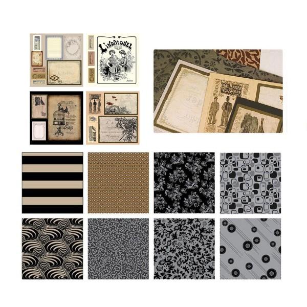 Noir Brun Argent Bronze Beige Rose 6inch Vintage Kit de Scrapbooking, Pour l'Ami de la Famille, les - Photo n°3