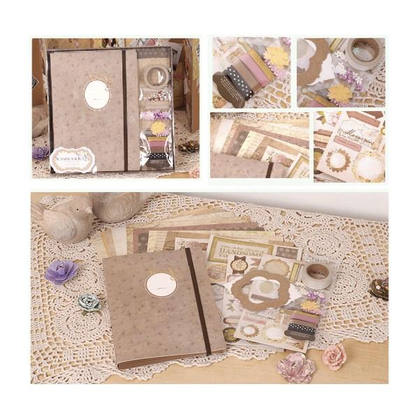 Rose Brun Noir Or Album de Scrapbooking Kit après-Midi 23 cm x 22,5 cm - Photo n°1