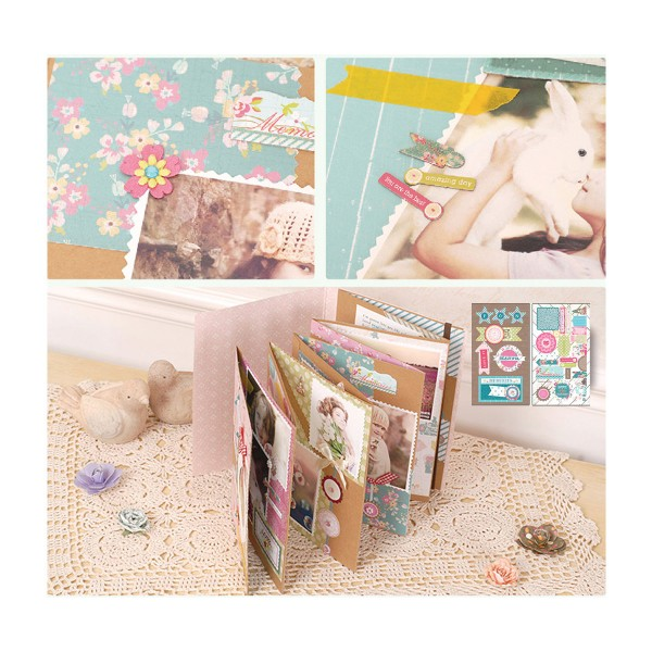 Rose, Bleu Turquoise, Jaune Scrapbooking Album Kit de Sweet Life de 23 cm x 22,5 cm - Photo n°2