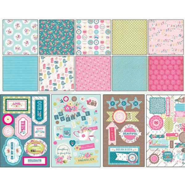 Rose, Bleu Turquoise, Jaune Scrapbooking Album Kit de Sweet Life de 23 cm x 22,5 cm - Photo n°3