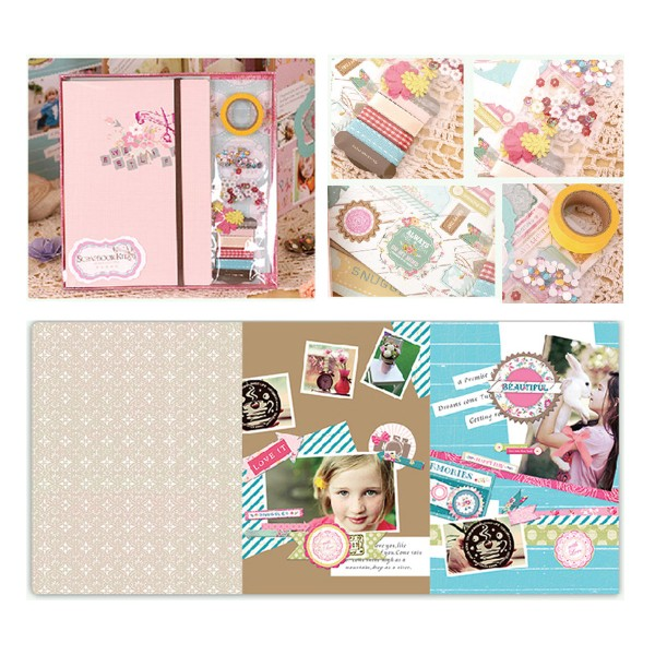 Rose, Bleu Turquoise, Jaune Scrapbooking Album Kit de Sweet Life de 23 cm x 22,5 cm - Photo n°1