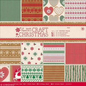 Papier scrapbooking 30 x 30 cm - Craft Christmas - 32 feuilles