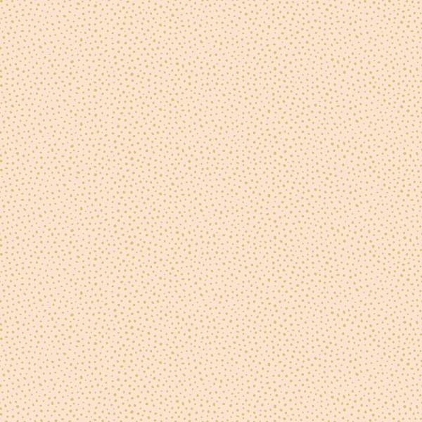 Papier peint intissé motif pois irréguliers gold, fond corail.