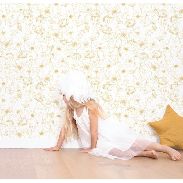 Papier peint intissé motif fleurs, botany gold - Photo n°3