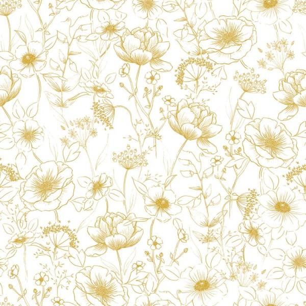 Papier peint intissé motif fleurs, botany gold - Photo n°1