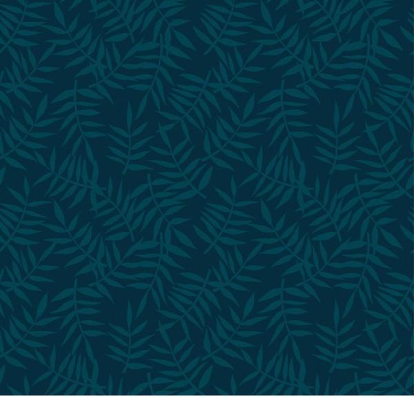 Papier peint intissé motif feuillage tropica bleu sombre - Photo n°1