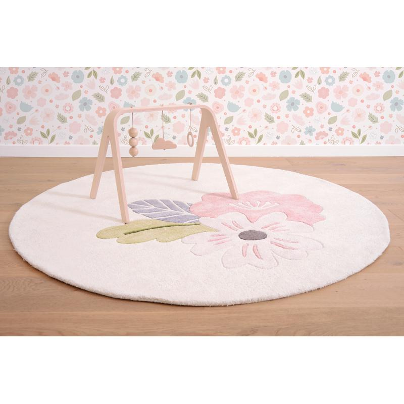 tapis coton rond avec fleurs tapis enfant creavea. Black Bedroom Furniture Sets. Home Design Ideas
