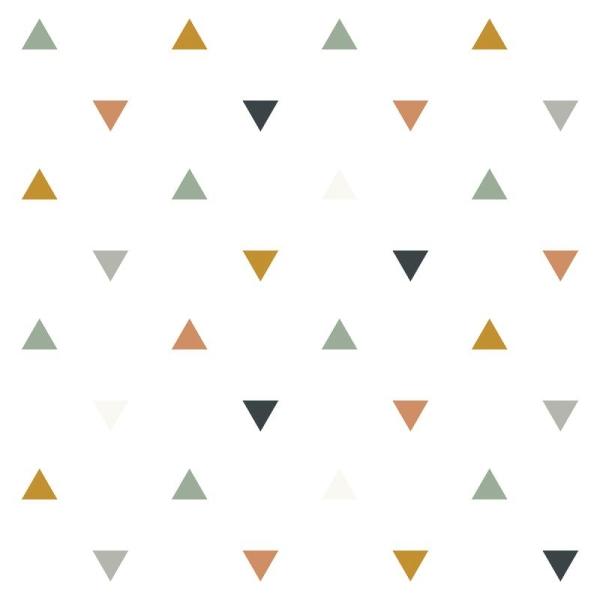 Papier peint intissé motif triangles bleus, gris, beige, enchanted - Photo n°1