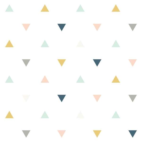 Papier Peint Intissé Motif Triangles Rose Moutarde Gris Enchanted