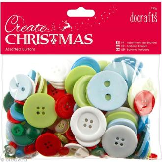 Assortiment boutons Noël Traditionnel - Create Christmas - 250 gr