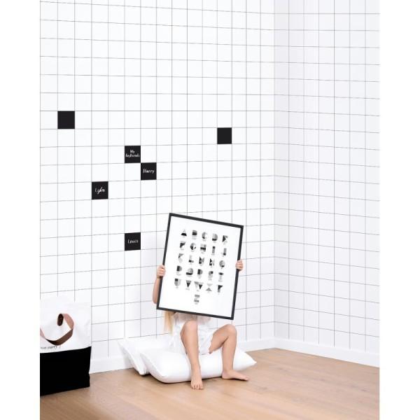 Papier peint intissé motif carreaux noir sur blanc, 8cm - Photo n°2