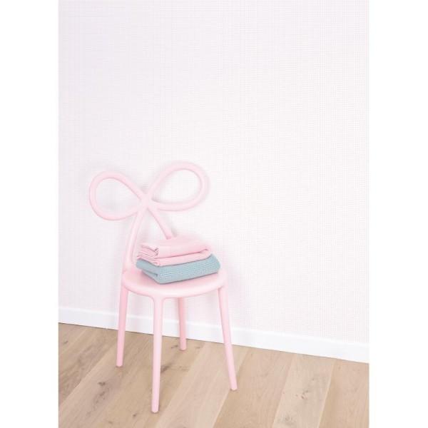 Papier peint intissé motif carreaux rose sur blanc, 0,5cm - Photo n°2