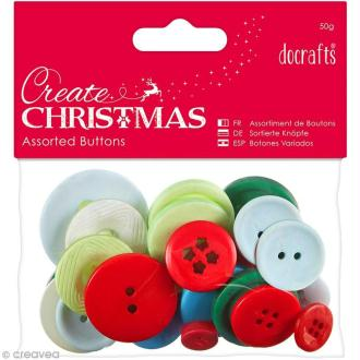 Assortiment boutons Noël Traditionnel - Create Christmas - 50 gr