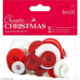 Assortiment boutons Noël Nordique - Create Christmas - 50 gr