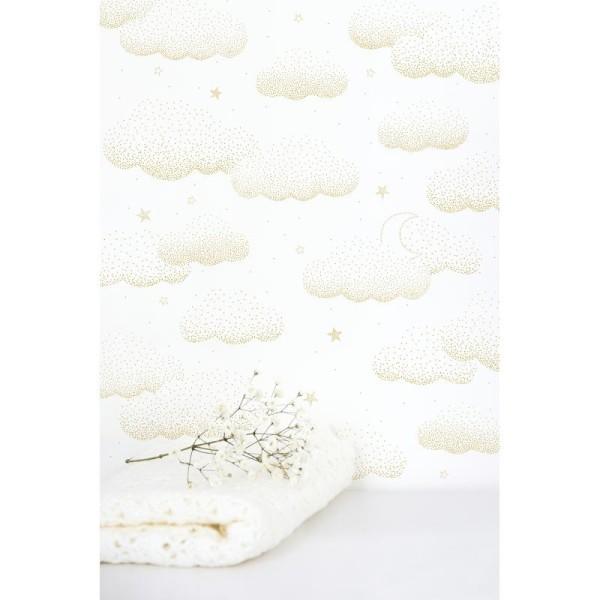 Papier peint intissé motif nuages, coloris or - Photo n°2