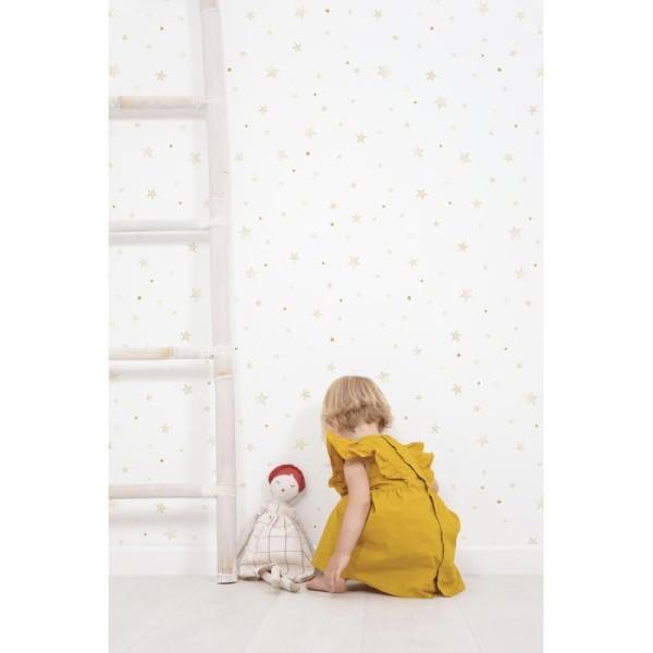 Papier peint intissé motif etoiles, coloris or - Photo n°2