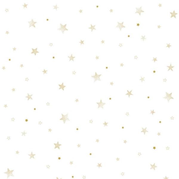 Papier peint intissé motif etoiles, coloris or - Photo n°1