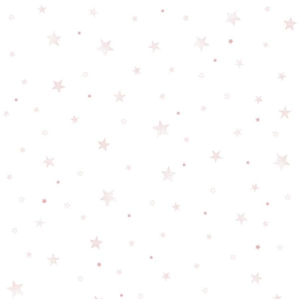 Papier peint intissé motif etoiles, coloris rose - Photo n°1