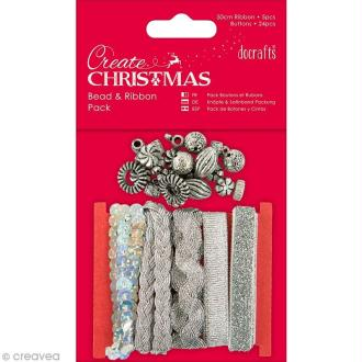 Kit ruban et perles - Create Christmas - Argenté