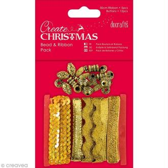 Kit ruban et perles - Create Christmas - Doré