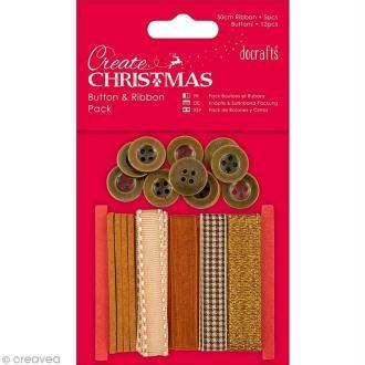 Kit ruban et boutons - Create Christmas - Bronze