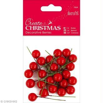 Baies décoratives - Create Christmas - Rouge - 24 pcs