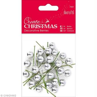 Baies décoratives - Create Christmas - Argenté - 24 pcs