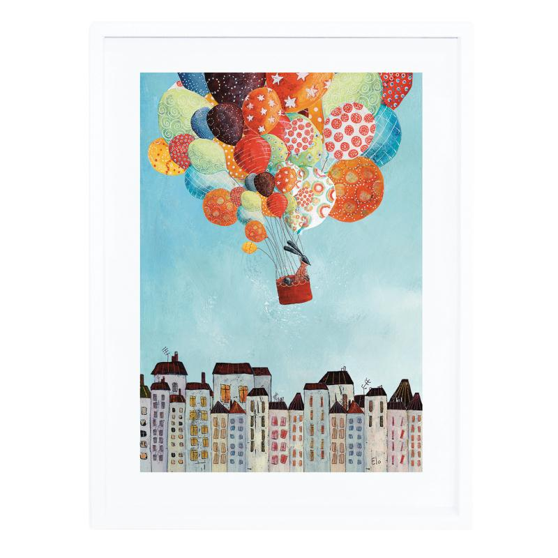 afiche avec cadre voyage en ballon sur la ville affiche murale creavea. Black Bedroom Furniture Sets. Home Design Ideas