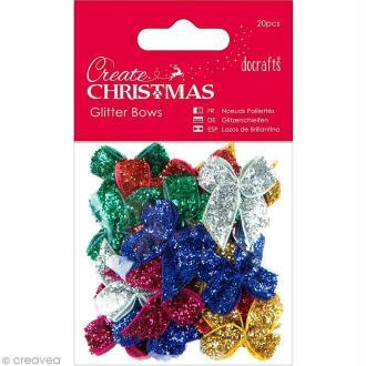 Assortiment petits noeuds pailletés - Create Christmas - 20 pcs