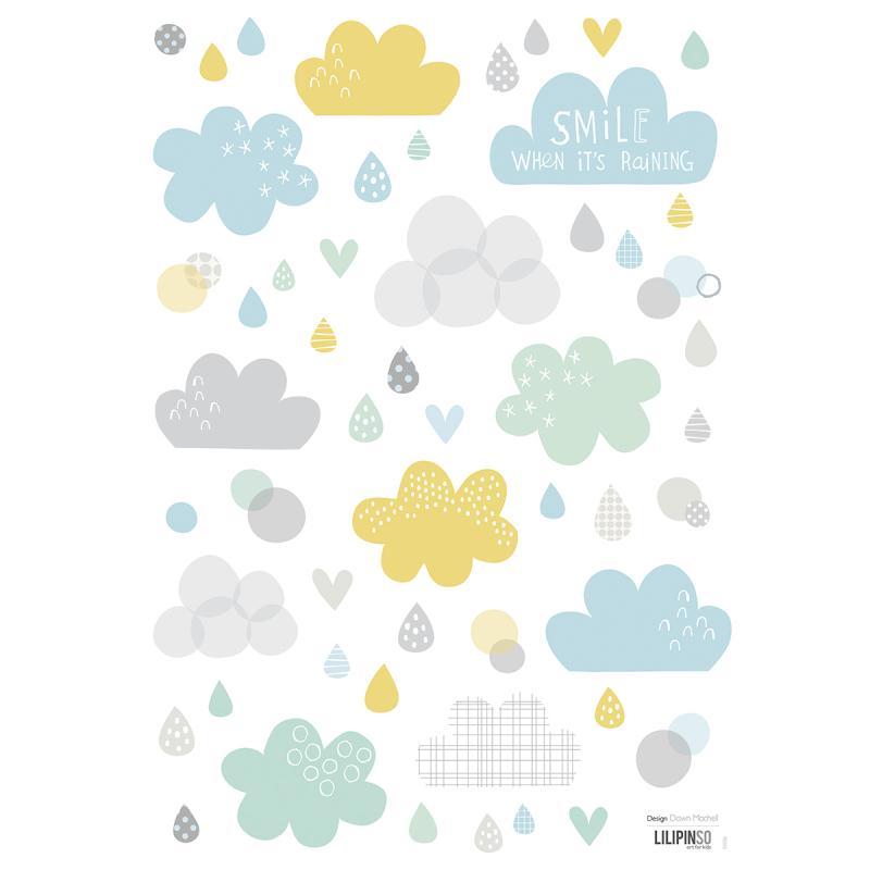 Stickers nuages et pluie - Stickers muraux - Creavea