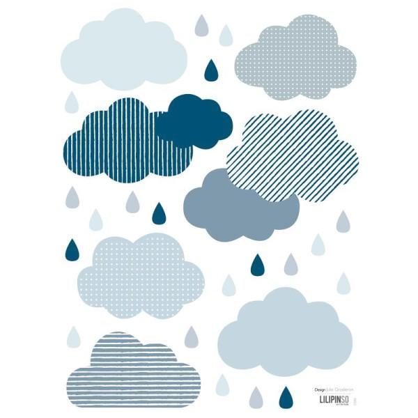 Stickers nuages et gouttes - Stickers muraux - Creavea