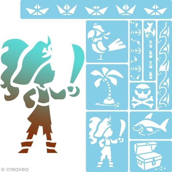 Mini pochoir - Pirate - Assortiment de 10 pochoirs - Photo n°1